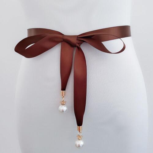 Damen Braid Dress Bund Dünne Gürtel Perle Quaste Taille Geknotete Taillengürtel