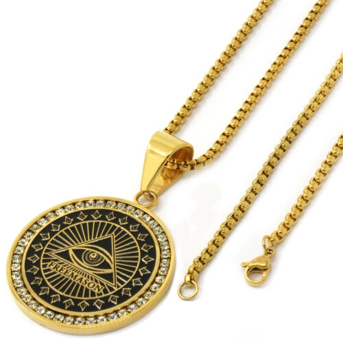 """Men Gold Tone Stainless Steel Free Mason Medal Pendant 3mm24/"""" Box Chain Necklace"""