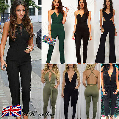 UK Summer Sexy Womens Ladies Playsuit Jumpsuit Bodycon Party Clubwear Trousers