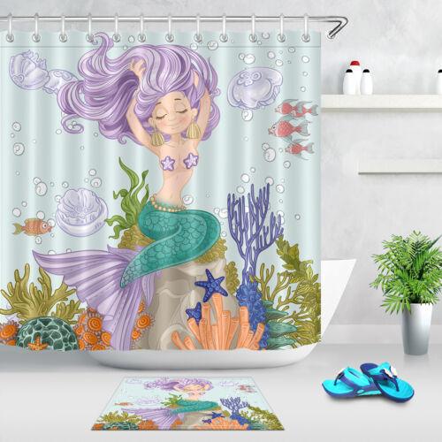 Sous-Marin Sirène Fille 180 cm tissu rideau de douche fixe salle de bain Tapis avec crochets