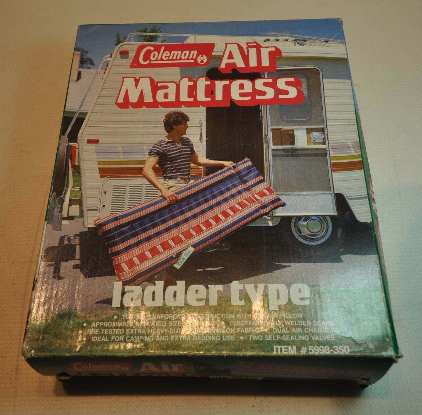 Vintage Coleman Red White bluee Air Mattress Camping Ladder Type  Retro 5998-350  official website