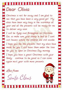 Image Is Loading Personalised Letter From Santa Nice List Certificate Father
