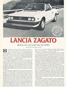 Image Is Loading 1979 Lancia Zagato Original Car Review Print Article