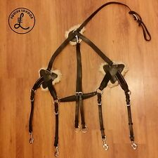 Leather Elasticated 5 Point Eventing Breastplate + Detachable Martingale - COB