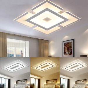 image is loading modern simple square acrylic led ceiling light living - Living Room Led Ceiling Lights