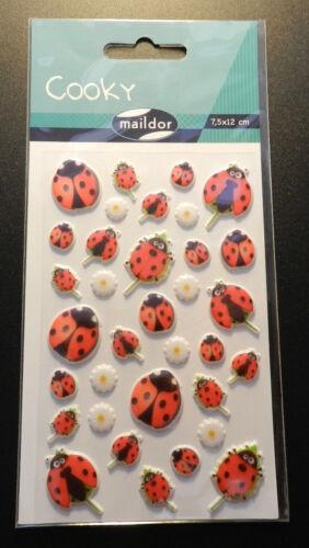 7,5x12cm 3d-sticker Maildor 34 pcs Sticker Set Cooky Coccinelle//Bonheur