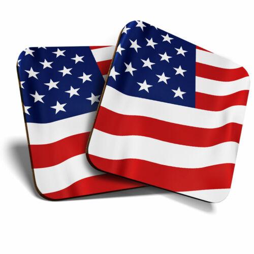 2 x sous-verres-American Flying Drapeau USA ETATS-UNIS HOME Cadeau #15623