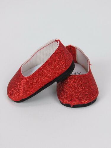 """Red Glitter Flats Fits 18/"""" American Girl Doll Clothes Shoes"""