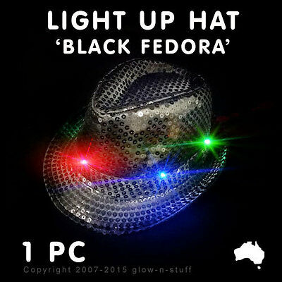 1 X FLASHING FEDORA HAT BLACK SEQUIN LED LIGHT UP GLOW DARK RAVE PARTY DANCE