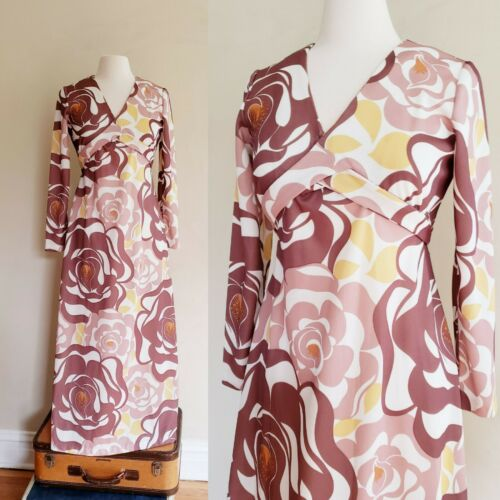 1970s Long Sleeved Maxi Dress Bold Print Brown Bei
