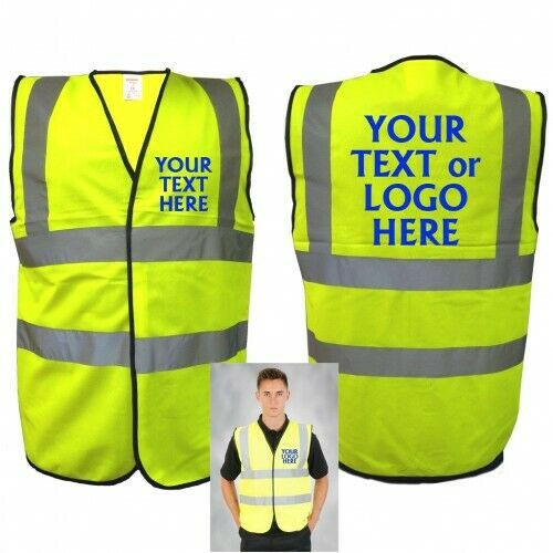 Personalised Hi Vis Safety Vest Logo Text Print Steward 1st Aid Reflective EN471