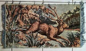 Vintage-Plush-Velvet-Rug-Tapestry-carpet-Wall-Hanging-Elk-RARE-Large-42-034-X32-034