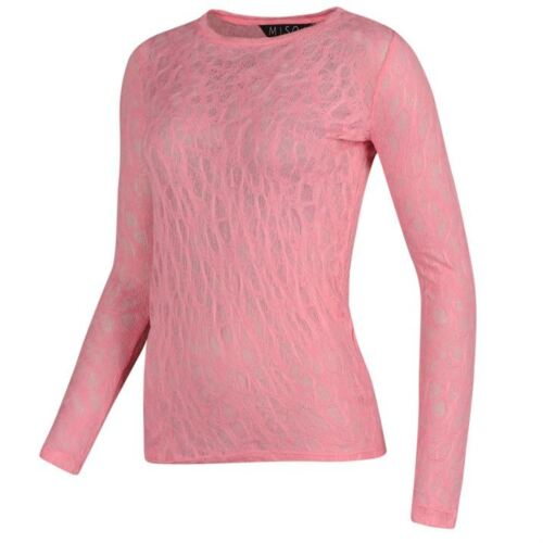 Women/'s Sugary Pink Mesh Throw Over Long Sleeve Thin Lightweight Knit Top