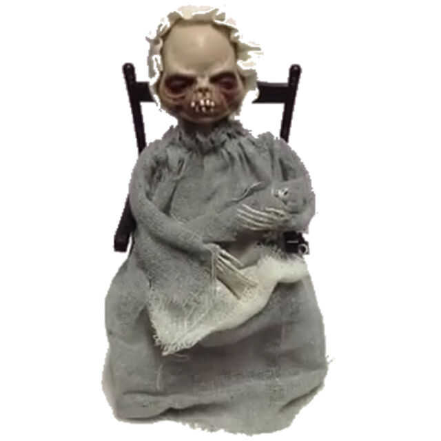 Halloween Animated Haunted Horror Party Prop rocking chair-coaxing lady skeleton