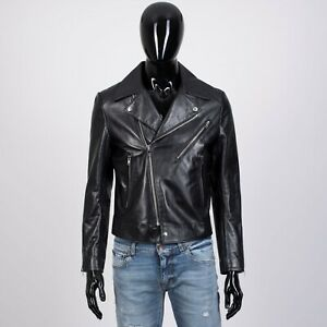 CELINE-HOMME-4950-Biker-Jacket-With-Padded-Shoulders-In-Black-Calfskin
