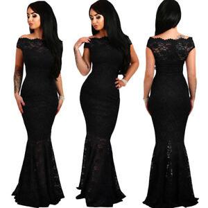 buy popular 1ed99 e1066 Dettagli su Vestito lungo nero elegante donna maxi abito da sera pizzo  cerimonia sexy D61481