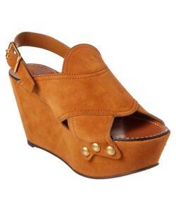 afc0b4dd7d $940 Chloe Tan Mischa Suede Platform Studded Wedge Sandals Shoe 38 ...