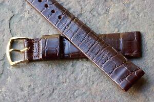 LAST-ONE-Vintage-Gruen-watch-17-5mm-band-gator-grain-padded-leather-1950s-60-NOS