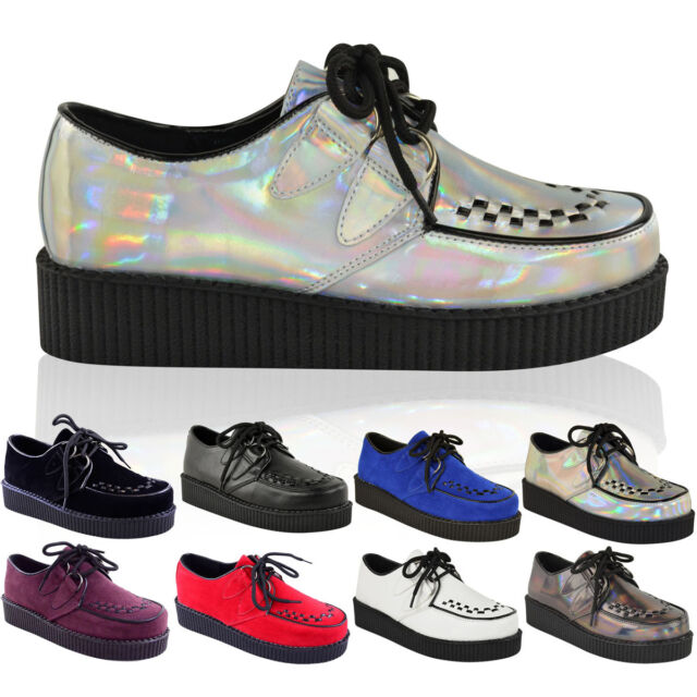 Womens Creepers Goth Shoes Ladies Flat Platform Wedge Lace Up Punk Boots Size