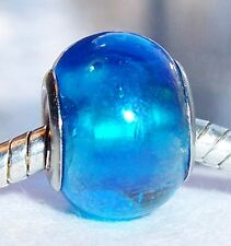 Blue AB Iridescent Murano Glass Bead fits Silver European Style Charm Bracelets