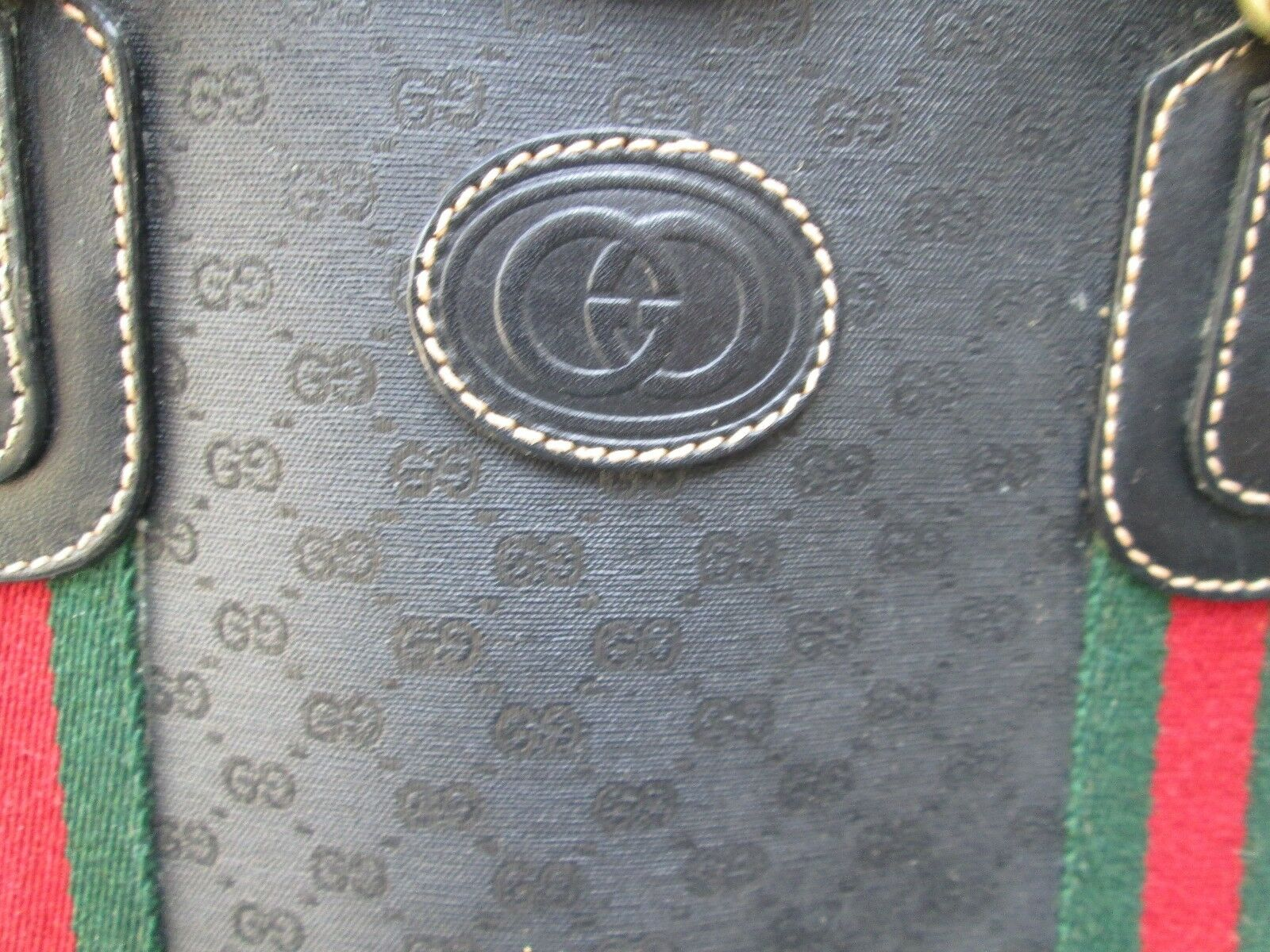 Authentic Vintage Gucci Black Classic Satchel Red… - image 11