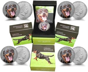 5-x-Niue-1-OZ-Silber-German-Rottweiler-color-2015-Watch-and-Guard-Dogs-Serie