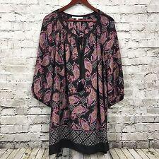 Daniel Rainn Multi Color Pullover Peasant Blouse Size 3X Tie Front