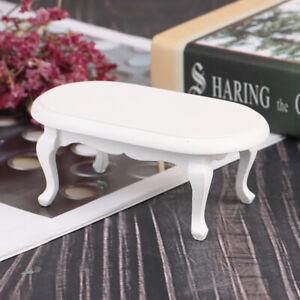 1-12-Dollhouse-Miniature-Furniture-Wooden-White-Teatable-Doll-House-Decor-Jf