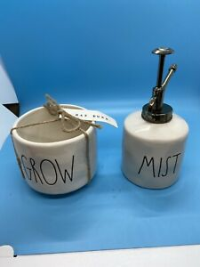 Rae-Dunn-by-Magenta-Gift-Set-Ceramic-034-MIST-034-Plant-Mister-amp-034-GROW-034-Planter