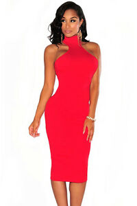 e635ba77ffb Red Mock Neck Key-Hole Back Knee Length Party Club Midi Dress