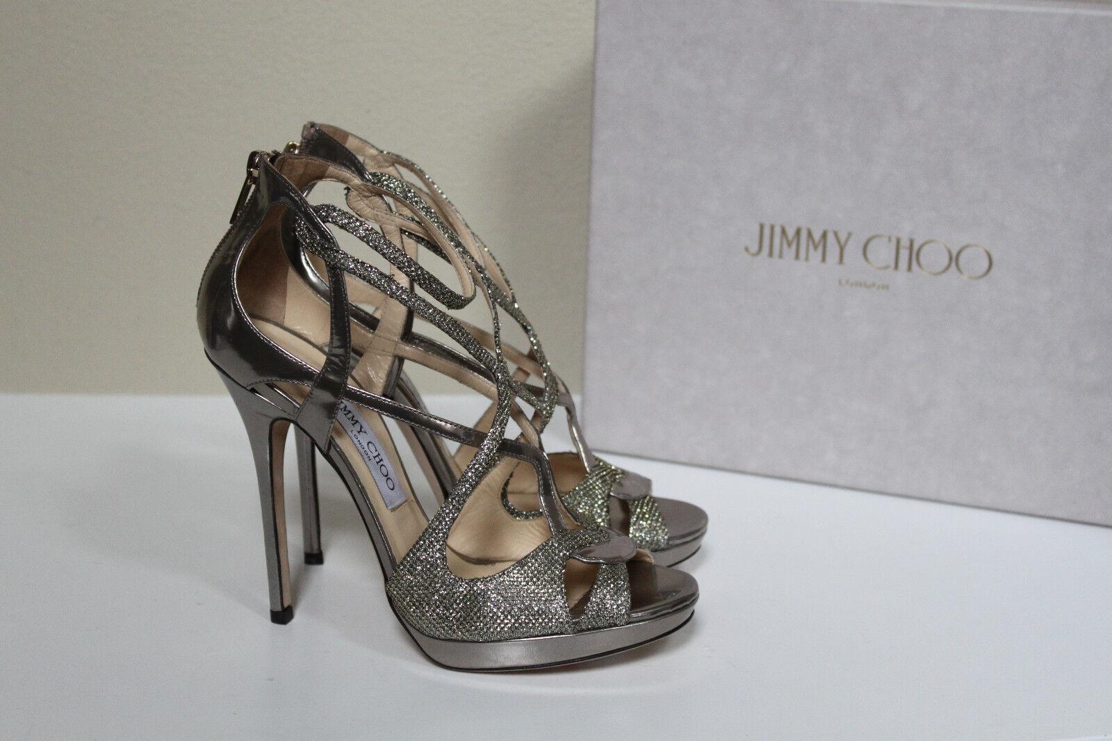 New sz 8   38 Jimmy Choo Silver Glitter Vermeil Strappy Ankle Sandal shoes