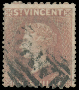 ST. VINCENT 1872 1sh LILAC ROSE PERF 11 TO 13 x 14 TO 16 WMK SMALL STAR USED #22