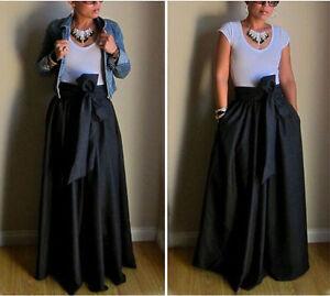Women-Ladies-High-Waist-A-line-Ball-Gown-Pleated-Swing-Long-Maxi-Skirt-Dress