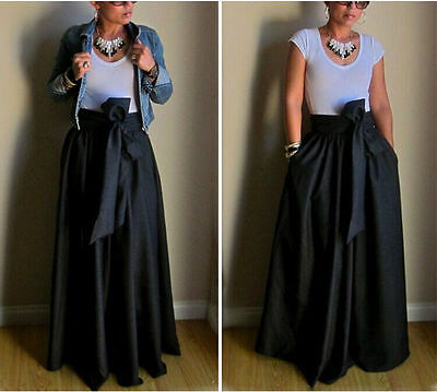 New Womens Summer Boho Long Maxi Beach Dress Bowknot Asymmetric Pleated Skirt RH