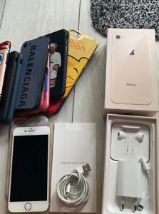 Apple iPhone 8 64go Or débloqué, État Irréprochable + 13 Coques