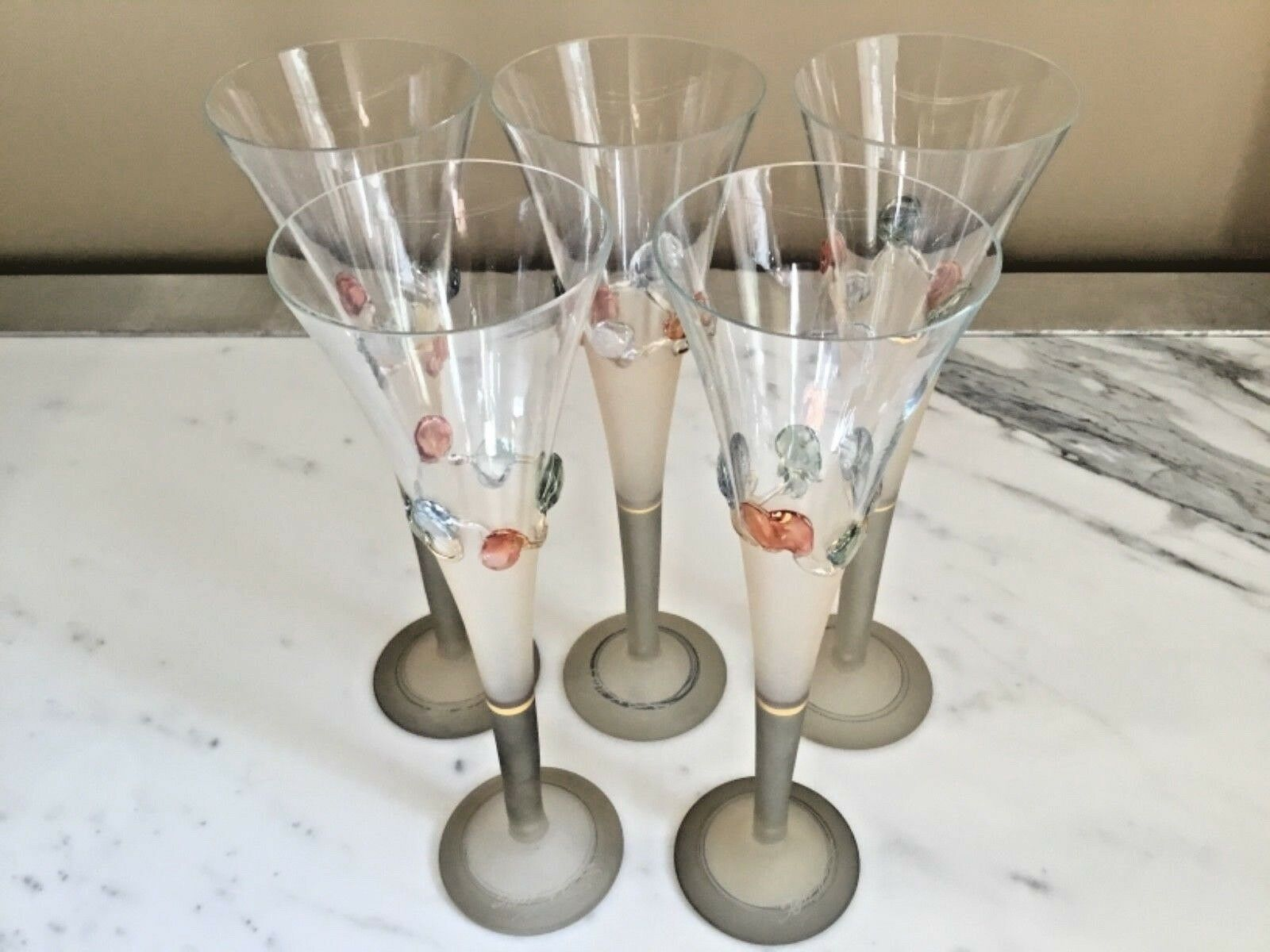 Set of 5Ion Tamaian Signed Blown Art Glass Champagne FlutesCOA Included