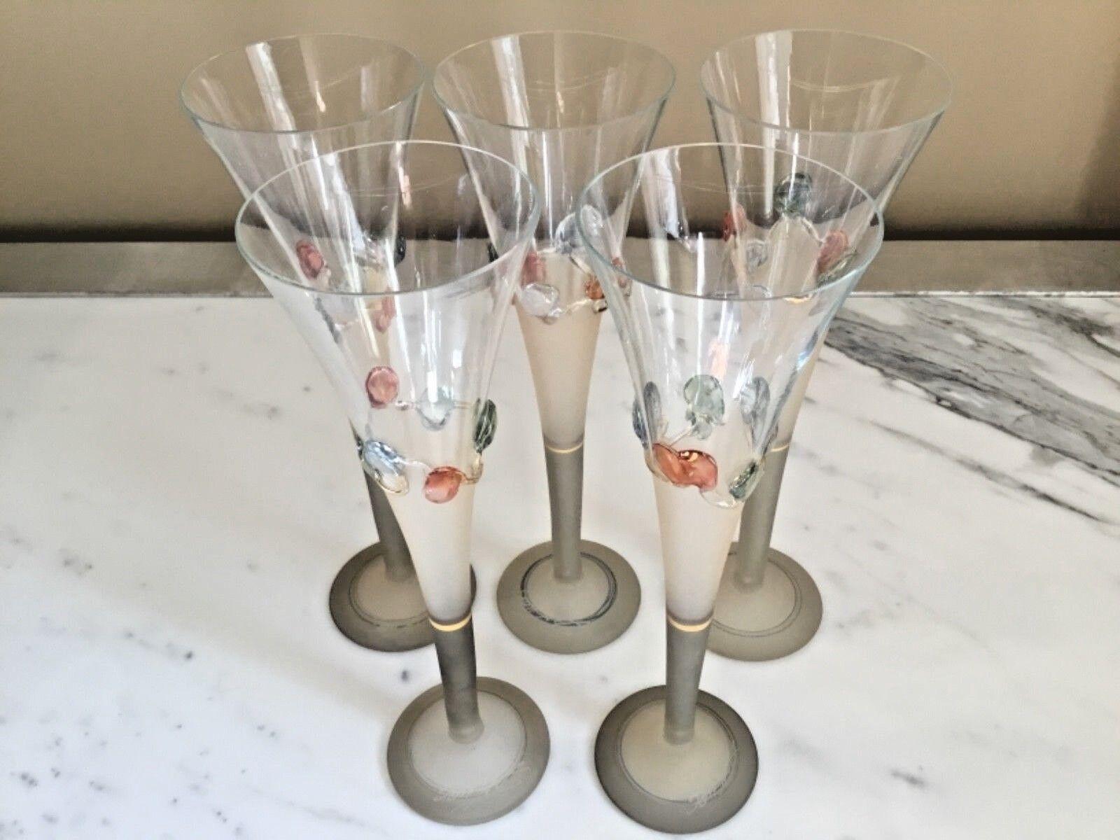 Set de 5  Ion tamaian signé soufflé art verre flutes champagne  COA inclus