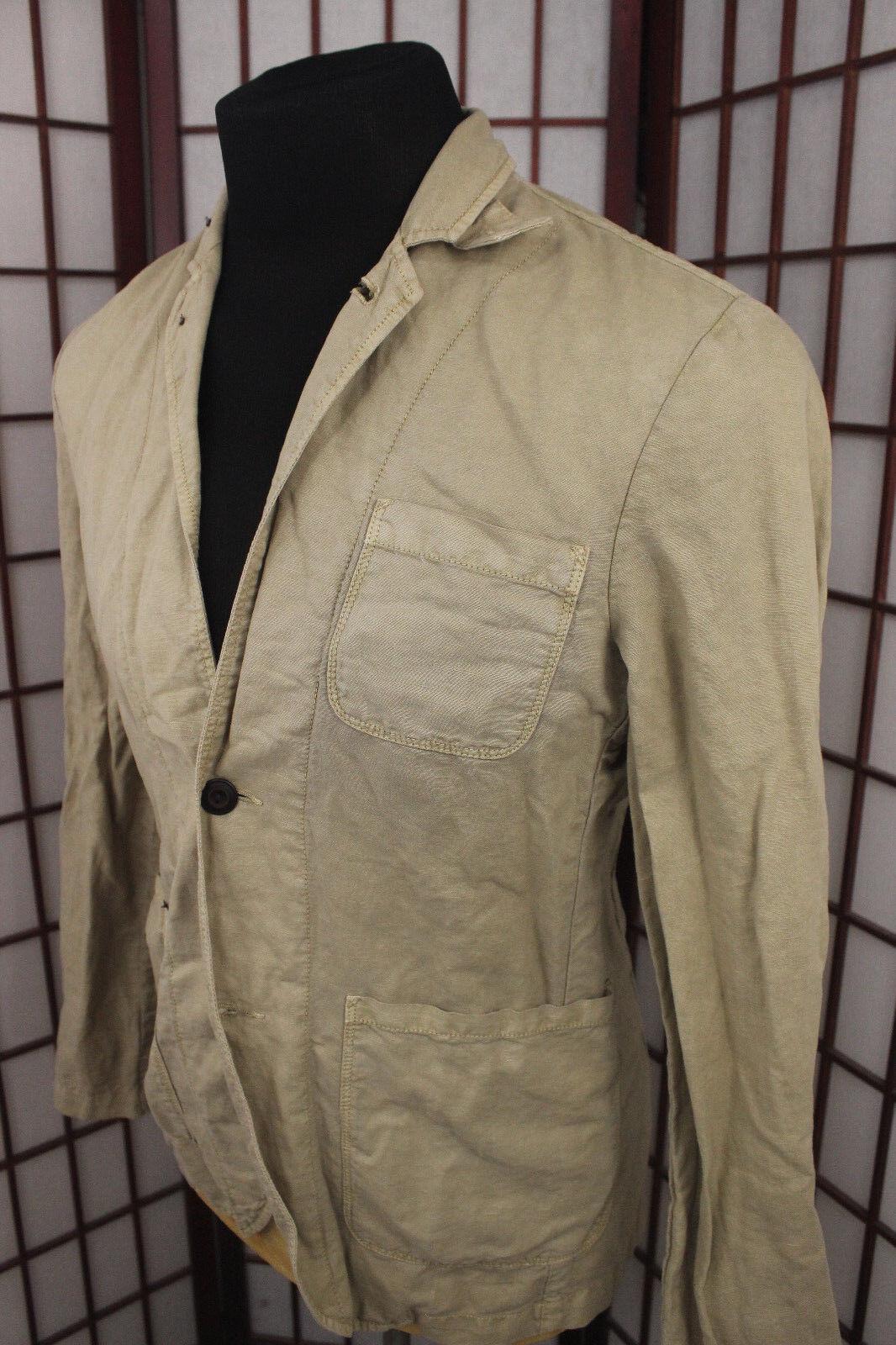 Lucky Brand Light Weight Linen Jacket Sz Medium Long Sleeve Tan Summer Fall