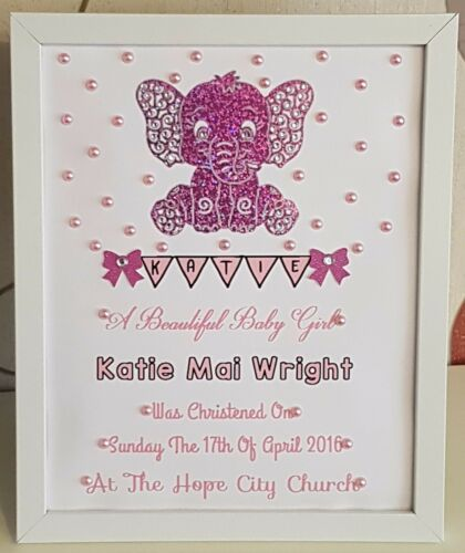 Personalised Framed Elephant New Baby Birth,Christening Boy//Girl Handmade Gift