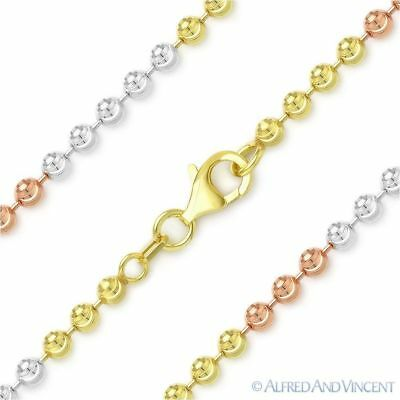 3mm Moon Cut /& Anchor Cable Link Sterling Silver 14k Yellow Gold Chain Necklace