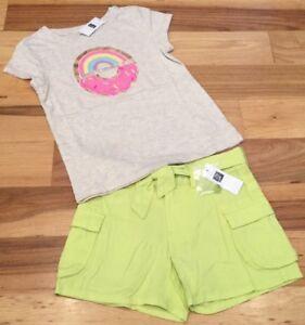 b2d3e203a2b2 Gap Kids Girls Size 7 Outfit. Bright Donut Shirt   Soft Neon Shorts ...