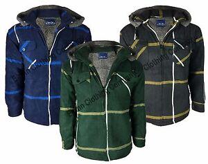 Mens Sherpa Fleece Hooded Lumberjack Work Shirt Jacket