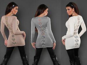 Maglia-Lunga-Miniabito-donna-pull-pullover-maxi-maglia-pizzo-rete-maglione-nuovo