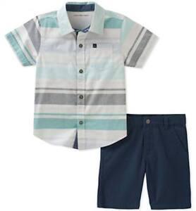 0908c6a70 Calvin Klein Infant Boys Woven Shirt 2pc Short Set Size 3 6M 6 9M ...
