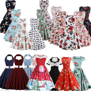 Womens-1950s-60s-Vintage-Xmas-Floral-Rockabilly-Cocktail-Party-Swing-Dress-Plus
