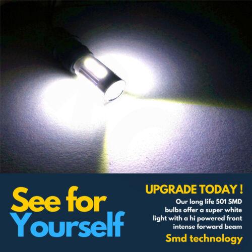 4 X 501 10 SMD LED XENON SUPER WHITE BULBS T10 W5W 168 DC LIGHTS TWIN