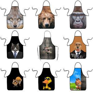 Women-Men-Funny-Kitchen-Bib-Aprons-Restaurant-Baking-BBQ-Apron-3D-Animal-Design