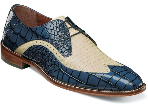 Men/'s Dress Shoes Wing Tip Oxford Blue//Ivory 2-Tone Leather STACY ADAMS 25271