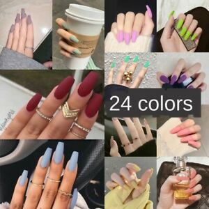 Fake-Matte-Nails-Stiletto-Tips-Press-on-Long-False-with-Glue-Coffin-Full-Cover