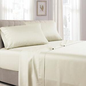California King Bed Sheet Set Wrinkle Resistant 100 Cotton Solid 300tc Sheets Ebay